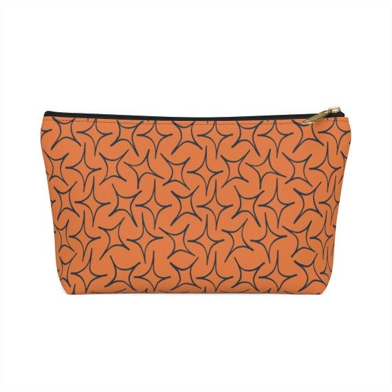 Orange Eastern Star Pouch - Makeup bag - Boho Chic - Orange and navy pencil case - anthropologie inspired zip top bag - unique pattern