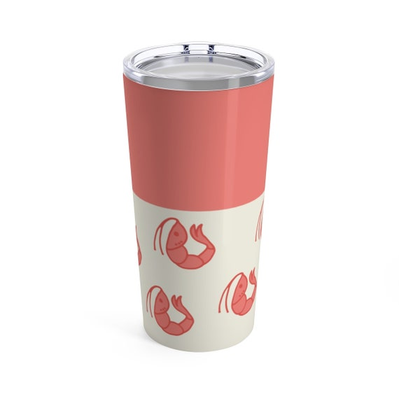 Shrimp Travel Mug - Tumbler with Lid - Salmon Pink Shrimp - Tumbler with Lid - Nautical Accessory - Hot or Cold Drinks - Perfect Beach Cup