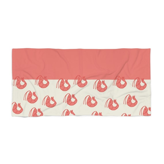 Shrimp Beach Towel - Nautical Accessory - Pink and Cream Pool Towel - Super Soft - Large Towel - Fun Pink Towel - Salmon Pink Pattern Towel