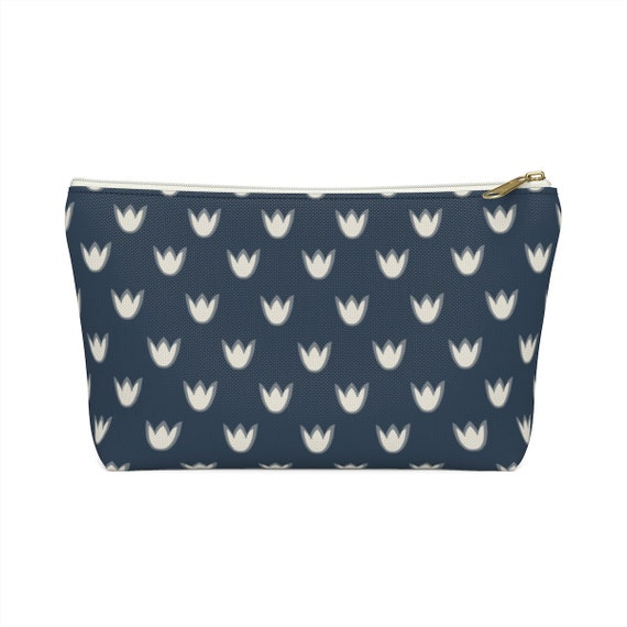 Navy Tulip Pouch - White Flower Make Up Case - Tulip Pencil Case - Blue Zip Pouch - Scandinavian Simple Pattern - Hygge - Langom - Pretty