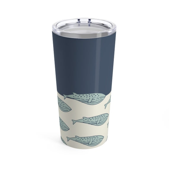 Nautical Whale Travel Mug - Tumbler with Lid - Blue Whale - Classic Moby Dick - Nautical Accessory - Hot or Cold Drinks - Perfect Beach Cup