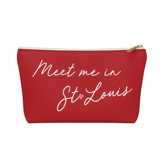 Meet me in St. Louis Pouch - Make up bag - Pencil Case - Red - St. Louis Missouri - Pink Heart - Hometown Love