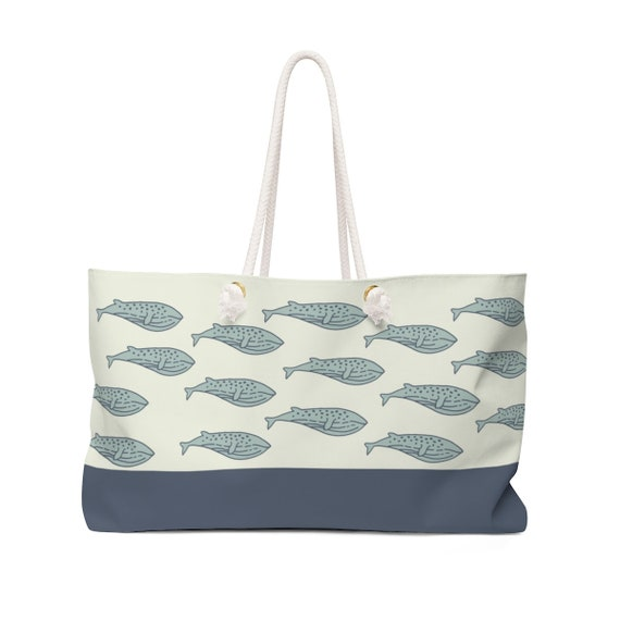 Whale Tote Bag - Nautical Carry All - Navy Blue Whale Bag - Rope Handle Canvas Tote Bag - Classic Moby Dick - Cape Cod - Nautical Accessory