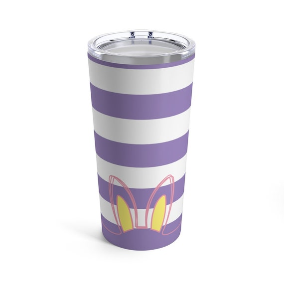 Easter Bunny Ears Tumbler - Purple Stripes - Pink - Blue - Yellow - Spring - Tumbler with Lid - Spring Coffee Cup - Cute Easter Basket Gift