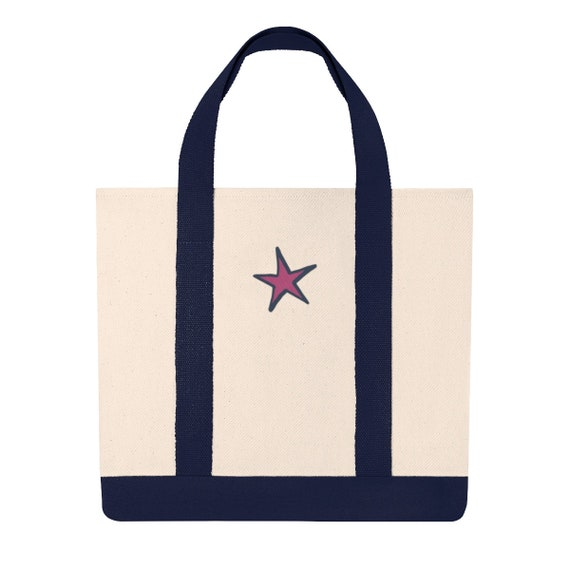 Embroidered Superstar Canvas Tote