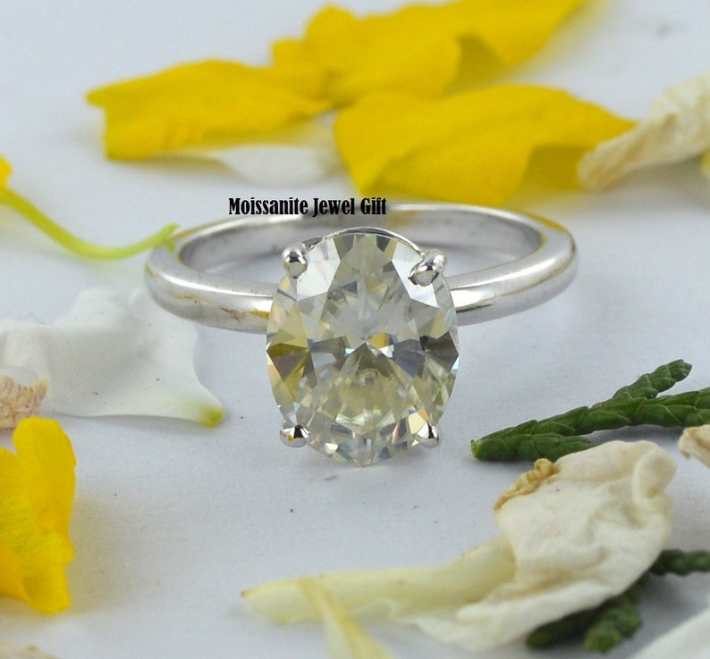 Anniversary Ring, Classic 2.00 Ct Oval Cut Genuine Moissanite With 14KT Solid White Gold Solitaire Engagement/&Wedding Ring