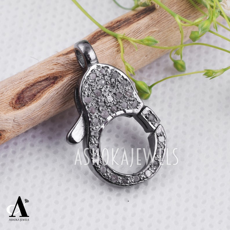 Diamond Lock Finding Jewelry Lock Clasp Finding AJLO125 Pave Diamond Clasp Lobster Charm Finding 925 Sterling Silver Pave Diamond Lobster