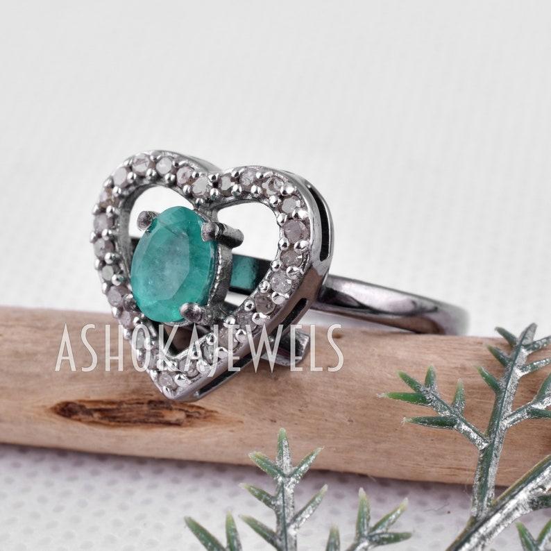 Heart Shape Pave Diamond Emerald Ring Natural Emerald Gemstone Ring Pave Diamond 925 Sterling Silver Emerald Gemstone Ring Jewelry AJGRI04
