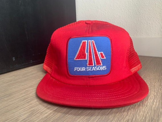 Vintage Four Seasons Red Trucker Snapback Hat - image 1