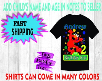 Elmo Personalized Birthday Shirt Boy Or Girl Any Age Name Customize Sesame Street Kids