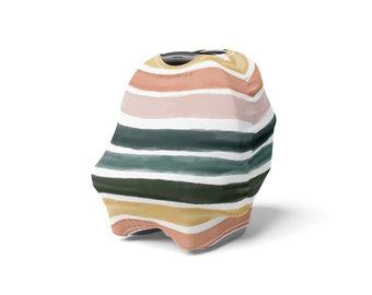 Nursing Car Seat Cover In Jewel Stripe | Multi-Purpose | Shopping Cart Cover | Newborn Toddler | Baby Shower Gift  |