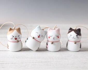 039bbaf85 Hand-painted cute cat wind chime, cartoon ceramic doll ornaments, lucky cat  car pendant