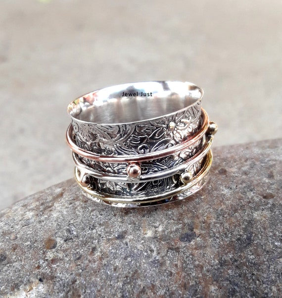 Solid Copper Band Brass Meditation Ring Spinner Ring Handmade Jewelry sq11