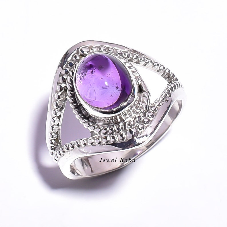 Vintage Ring Women Ring. Amethyst Ring Sterling Silver Ring Statement Ring February Birthstone Ring Gemstone Ring Purple Stone Ring