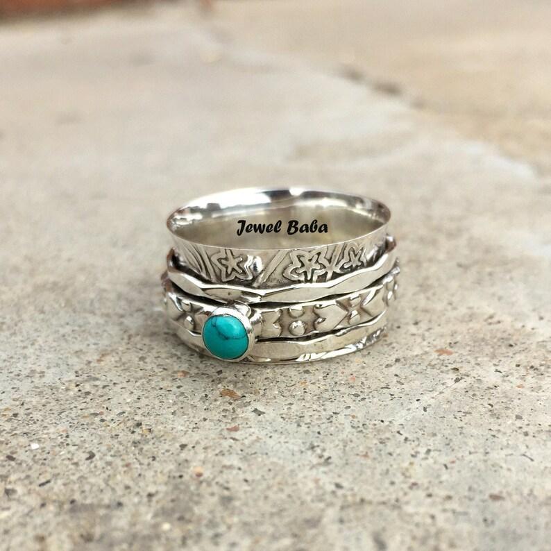 Thumb Ring Spinner Ring Women Ring Gift For Her Turquoise Ring Meditation Ring Anxiety Ring Boho Ring Gemstone Ring Worry Ring