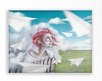 Surreal art portrait poster. Dream artwork. Popsurreal portrait of a girl in the clouds. Fantasy landscape print. Size A4, 30x40 cm, B2