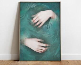 03eb06cac86b Poster stampa surreale. Illustrazione surreale. Le mani di Ofelia. Regalo  letterario. Opera d arte ispirata a Shakespeare.