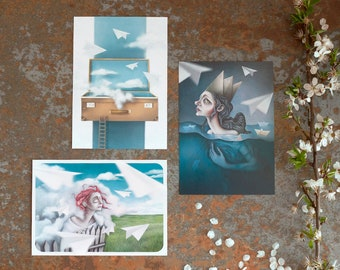 A6 Print. 3 postcards with surreal illustrations.