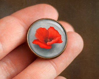 Pin with poppy flower, Ophelia's bouquet by Shakespeare, Jewelry with field flowers, Brooch in a cabochon style with art print, 20 mm