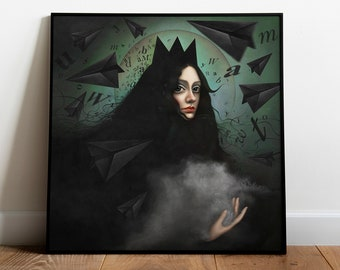 Secret Witch Portrait, Queen Mab from Romeo and Juliet by William Shakespeare, Square Art PrinPoster, Witchy Room Decor, Literary Gift