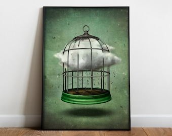 Shakespearian poster | Inspired by Queen Mab from Romeo and Juliet by William Shakespeare | Surreal Art | Witchy Room Decor| Literary Gift