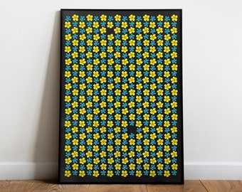 Ophelia's field flowers | Art print poster with Forget-me-not and Yellow Buttercups | Inspired by William Shakespeare | literary gift