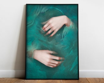 The Hands of Ophelia   Poster Shakespeare Print   Victorian hands   Literary gift   Artwork inspired by Hamlet tragedy