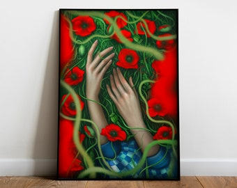 The Wizard of Oz Art Print Poster | Dorothy In The Poppy Field | The Hands of Dorothy | Literary Art Poster Gift | Movie Poster