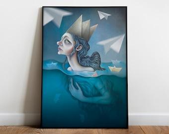 Surrealist Female Portrait Poster Prints   Paper queen   Fantasy artwork   Surreal water art print   Surreal art poster