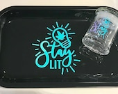 Rolling Tray Set-Stay Lit Rolling Tray and Stash Jar Holographic Personalized Jar 420 Gift Air Tight Glass Jar Smell Proof Jar