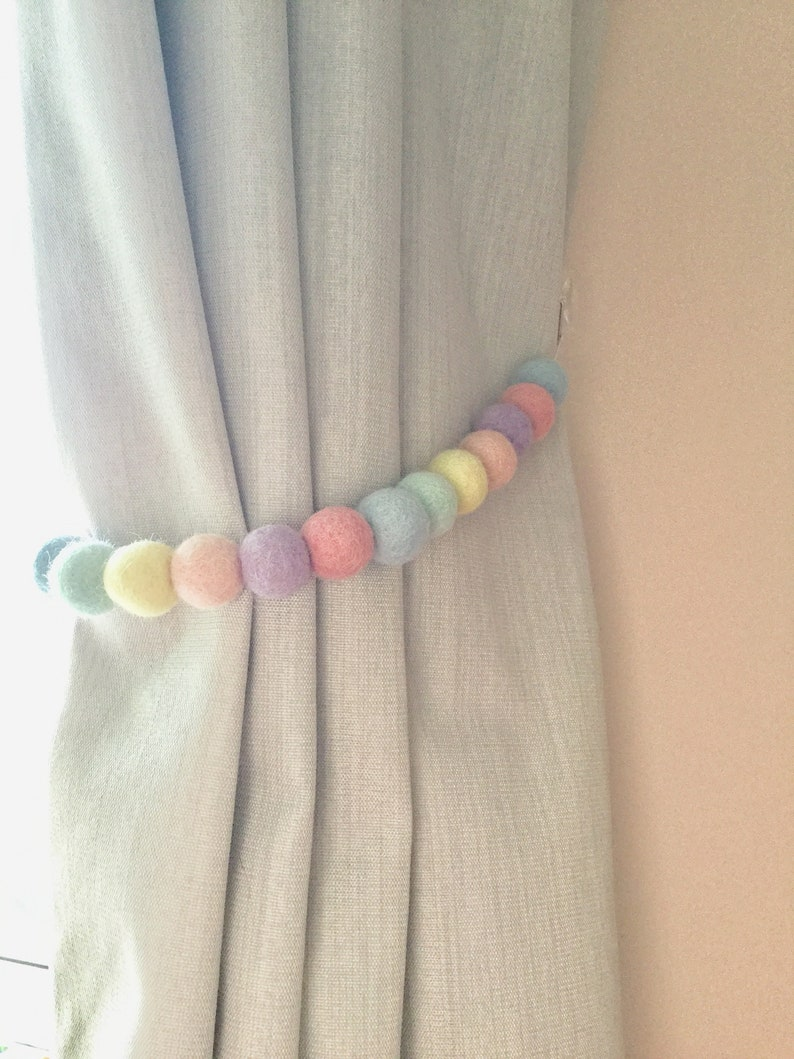 Pastel Rainbow felt ball tie back  pastel Pom Pom tie back  curtain tie backs