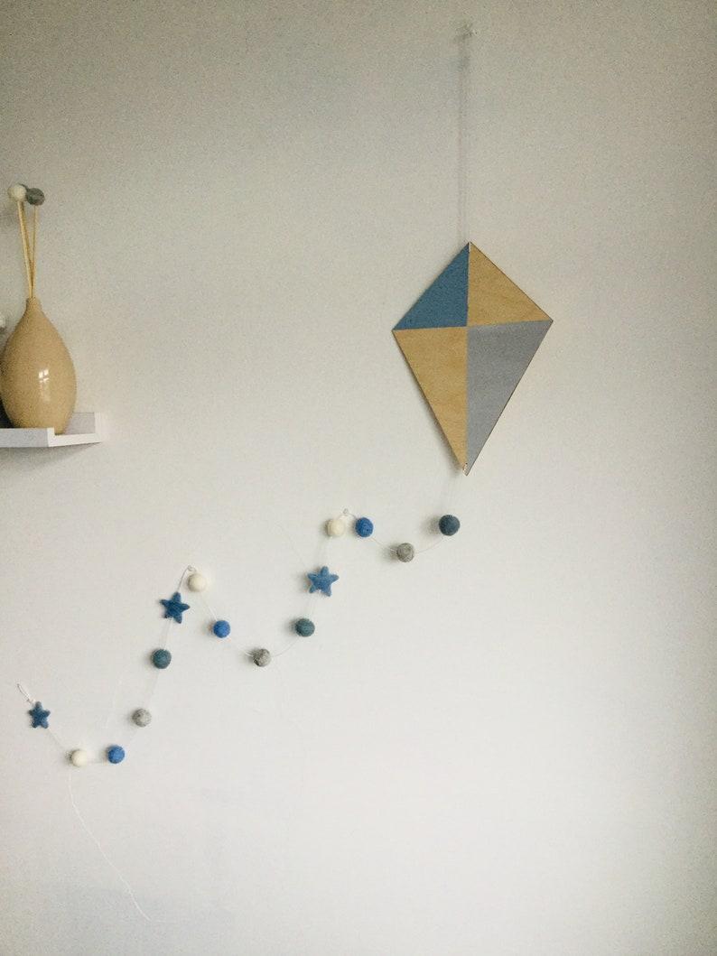 Kite Nursery Wall Hanging Felt Ball Garland Boho Decoration Etsy
