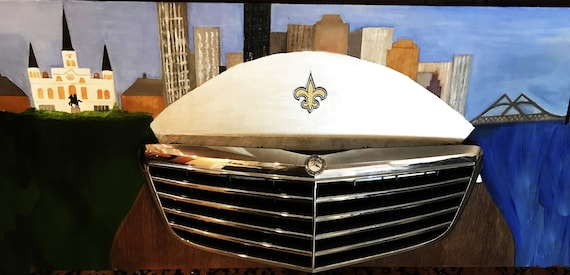 New Orleans Saints man cave art with Mercedes grill and skyline, oil,  original, on a 24