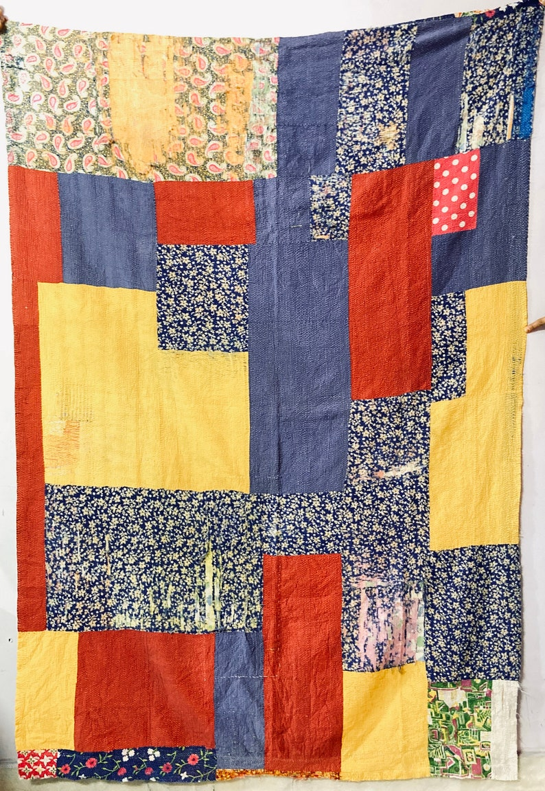 Indian vintage cotton kantha quilt handmade gudari Indian bedding throw