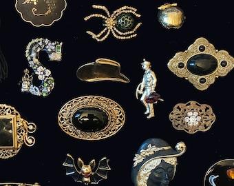 Estate Brooch Lot, Trifari Enamel Pins, 1928 Marcasite Black Cabochons, Gold Filigree Hat Pins, Designer Spider Jewelry, Moon Pin 21 pcs.