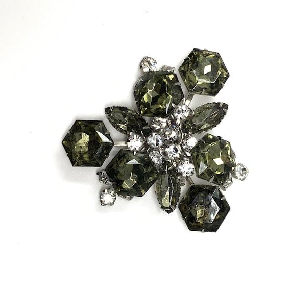 Vintage Geometric Green Rhinestone Cluster Brooch