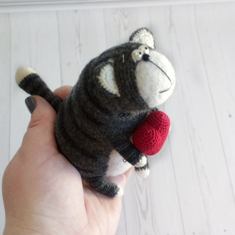 handmade cat black cat organic wool cat crocheted cat toy wool interior toy miniature cat Handmade Crochet tabby cat stuffed cat cute kitten