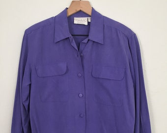 a3ffeb0c Vintage 90s Womens Purple Silk Blouse