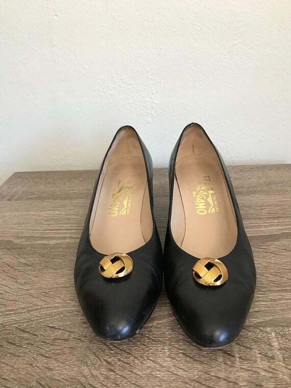 Vintage Ferragamo Black Leather Kitten Heels