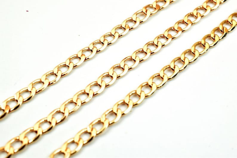 3 Feet 18K Pinky Gold Filled Chain Cuban Link Chain Cable Chain Width 3mm Thickness 1mm Gold Filled Finding Chain For Jewelry Making PGF19