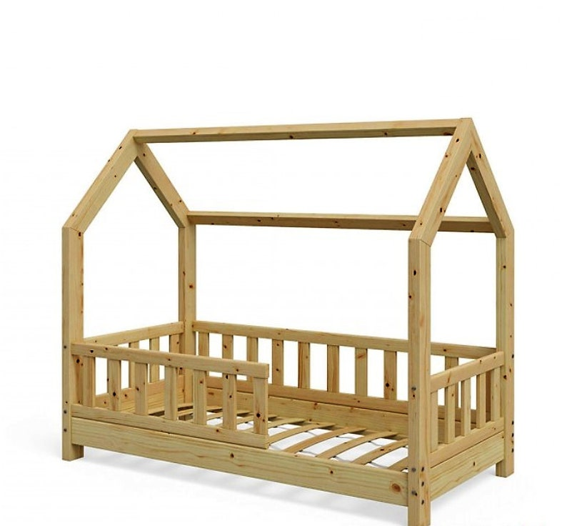 Toddler House bed With Rail Teepe Floor Bed with ...