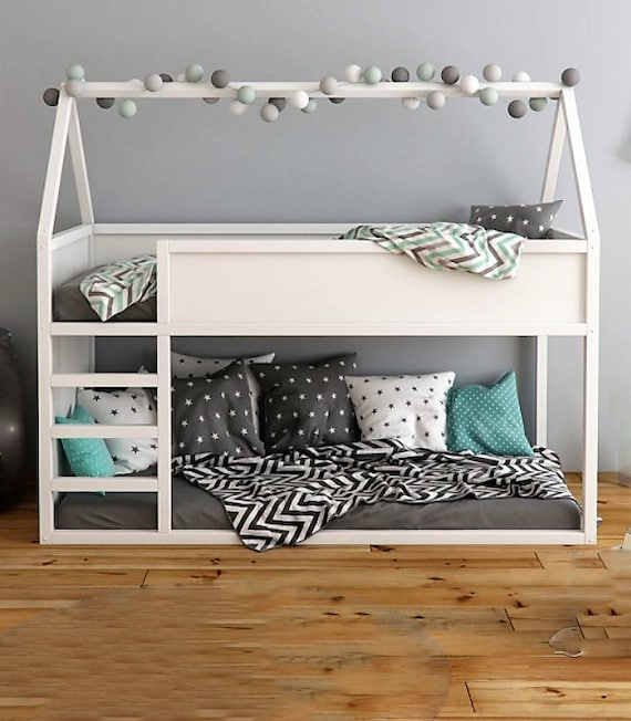 Wooden Bunk Bed With Stairs Montessori Toddler Floor Bed Etsy