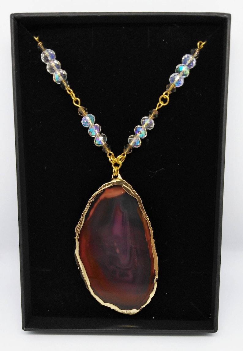 Translucent agate slice pendant