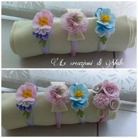 Cerchietto capelli bambina con fiori nelle tonalit\u00e0 dei colori pastello