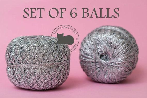 Blue Yarn Metallic Glitter thread Sparkling Lurex Ball Crochet Knitting Crafts