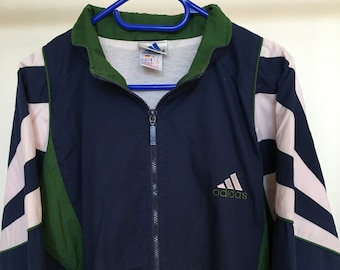 e2a38d52392c Vintage Adidas Track Jacket 90s Retro Very Rare Size Large Blue White Green