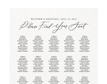 Up to 400 guests Alphabetized Table Assignment Templett #1012 #4140 Editable Printable Alphabetical Calligraphy Seating Chart Template