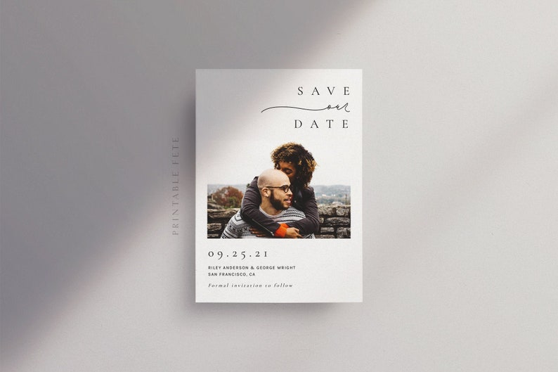 Simple Typography Template Minimal Script Digital File Minimal Photo Save the Date Templett #2543 Modern Save our Date GWEN