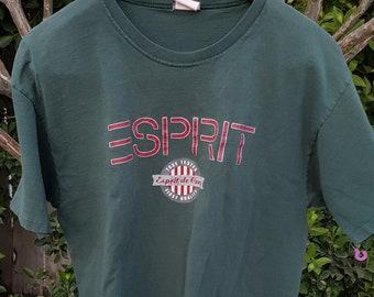 ba161ebf Vintage Esprit Forest Green T-Shirt // Size Large // 100% Cotton // Single  Stitch