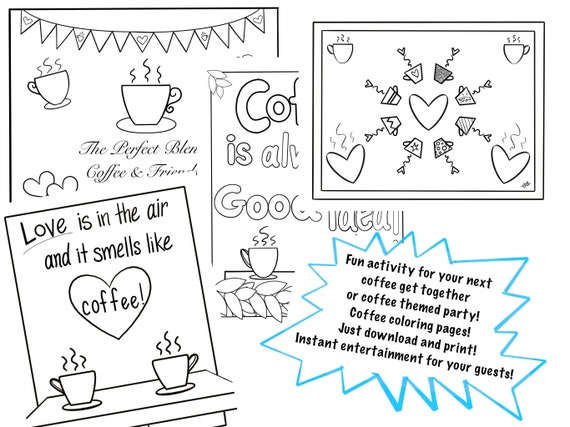 Set Of 4 Coffee Coloring Pages Instant Download